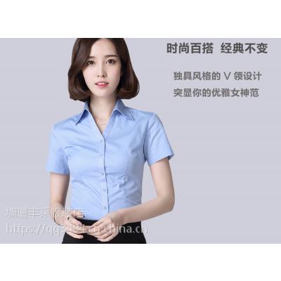 清溪制衣厂家直销气质职业白色衬衫女短袖工作服衬衣半袖白衬衫上衣