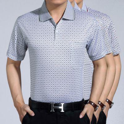 爆款中年男装中老年男士短袖t恤夏新款翻领口袋100%纯棉男短袖衬衫