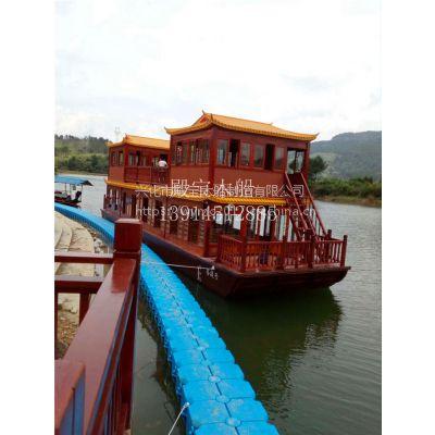 景区旅游画舫船 电动观光游船 仿古实木船 画舫船价格和报价