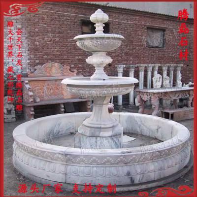 石雕欧式喷泉 大理石黄锈石 广场流水钵 黄锈石喷泉景观雕塑