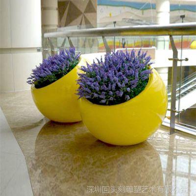 厂家批发 时尚玻璃钢树脂圆形花盆 商场美陈绿化落地式组合花卉