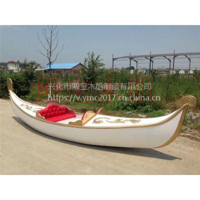 欧式木船贡多拉游船景区手划船装饰船摄影道具船