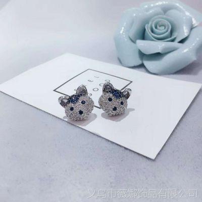 韩版简约趣味锆石小狗耳环925银针耳钉义乌蓝刚玉小耳饰品女礼物