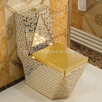 家用抽水金色成人陶瓷钻石欧式方形彩色连体座便器马桶