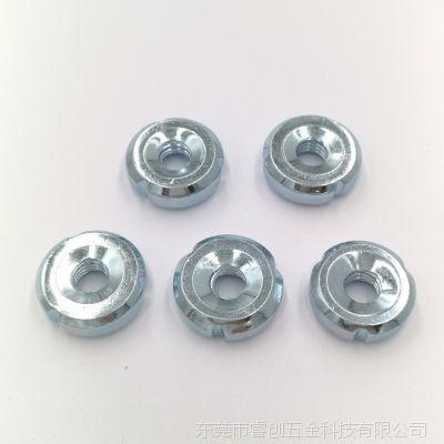 厂家直销M5 M6 M8铁管底脚螺母 圆螺母内套牙三勾螺母碳钢Q235材