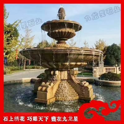 埃及米黄水钵 房地产喷泉水景 园林石雕