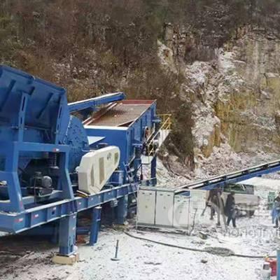 移动柴油动力破碎机在贵北城际铁路生产中的视频