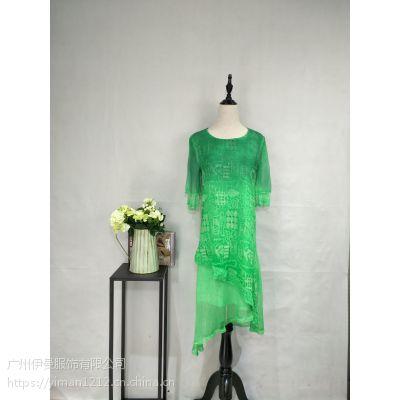 广州伊曼服饰品牌折扣女装库存批发,优雅真丝连衣裙