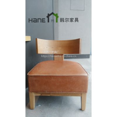 上海韩尔家具厂直销咖啡厅单人沙发 简约星巴克实木单人沙发定制