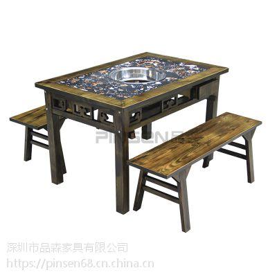 古典中式柜式仿古雕花实木大理石火锅桌椅组合重庆老火锅麻辣烫串串香铜锅