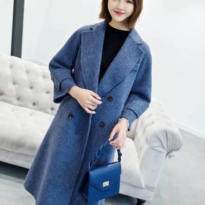 毛呢外套女2018冬季新款韩版中长款过膝宽松显瘦米色气质羊毛呢子大衣