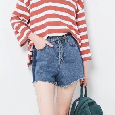 超弹力彩色短裤韩版明星女式牛仔短裤中腰大码外贸糖果牛仔短裤女