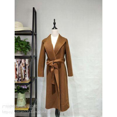 广州伊曼服饰品牌女装尾货批发走份,双面羊绒呢子大衣一手货源
