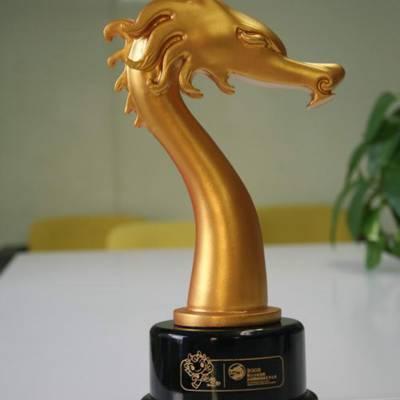 金属金龙奖奖杯|动漫比赛纪念品|成都金属奖杯定制|合金金属纪念品定制