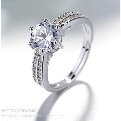 简约戒指环保铜电镀白金戒指 饰品制造商出售 开口戒可调节戒指
