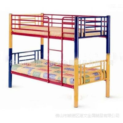佛山金属床厂家|儿童公寓床|上下铺铁床|简约员工高低床|分体双层铁床