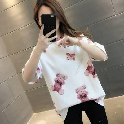 便宜韩版女式T恤清仓女装短袖便宜地摊女式上衣批发广州尾货批发服装厂家