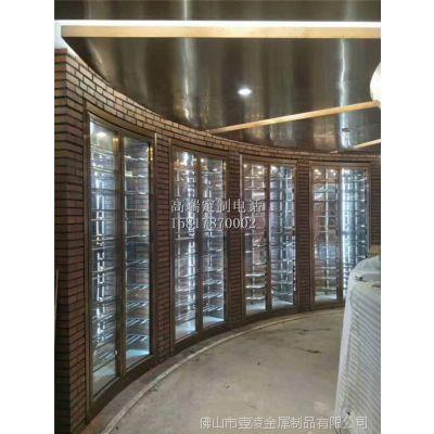 现代定制餐厅高端不锈钢酒架 玫瑰金镜面酒柜厂家