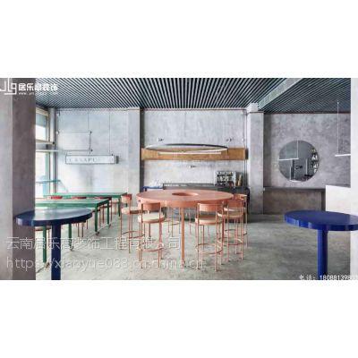 工业风格餐厅酒吧,混凝土和荧光灯打造既神秘又迷人,昆明餐饮店装修效果图!