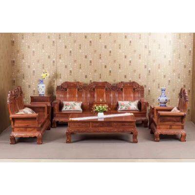 刺猬紫檀如意沙发价格 酸枝实木沙发图片大全 小红檀如意沙发10件套 名琢世家优质产品