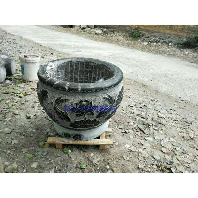 石雕荷花鱼缸 石雕鱼缸造景 仿古鱼缸 鱼缸厂家 鱼缸价格