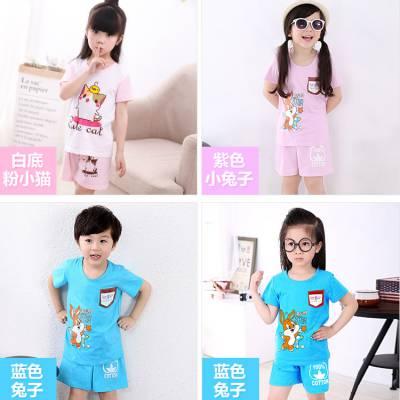 便宜纯棉童装短袖T恤 花色夏季韩版批发厂家库存童装批发