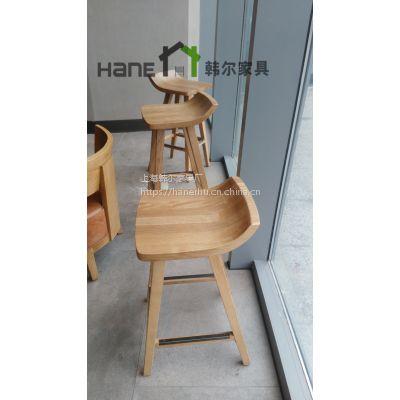 上海韩尔家具厂直销星巴克实木吧椅 简约咖啡厅水曲柳吧椅定制