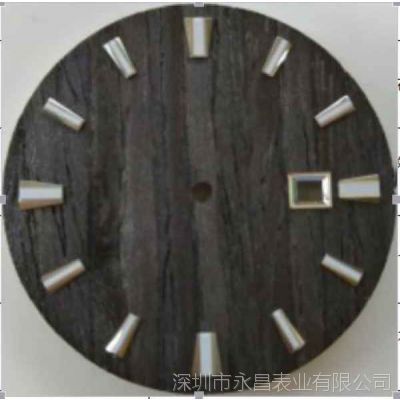 真实黑檀木皮表盘制作