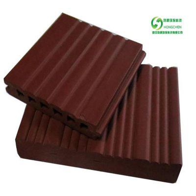 厂家户外西安木塑生态木地板 空心塑木材料装饰地板防水塑木地板.