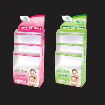 供应生产定制日化婴童用品PVC陈列架,纸尿裤湿纸巾落地架,奶瓶刷子展示架