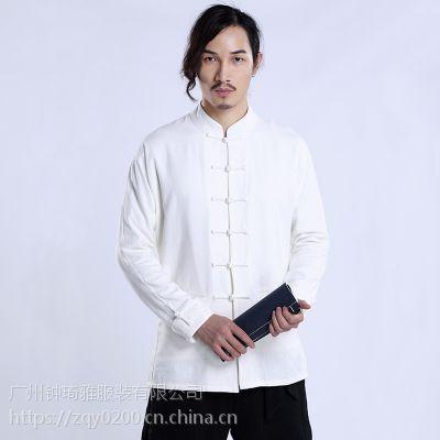 唐装男士中国风亚麻衬衫男士复古立领外套盘扣长袖上衣 定制批发
