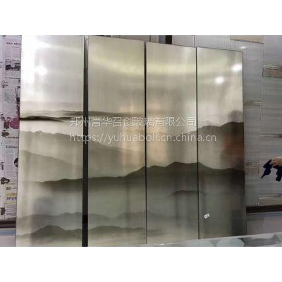 夹丝山水画玻璃,夹丝屏风隔断等艺术玻璃,郑州誉华召创公司定制生产
