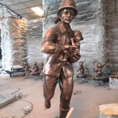 铸铜消防员跪地怀抱小女孩造型雕像玻璃钢消防战士铜塑像救火现场场景雕塑教育主题公园广场摆件