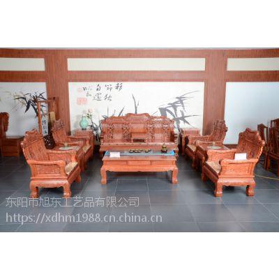 旭东红木 成套家具 实木 缅花竹节沙发 东阳红木家具厂 图片价格