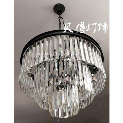 美式复古水晶客厅吊灯卧室书房房间餐厅创意个性铁艺吊灯,吸顶灯