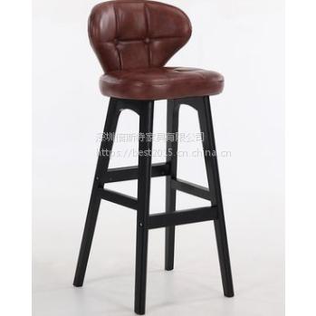 倍斯特简约现代实木吧椅创意咖啡酒吧奶茶厂家定制