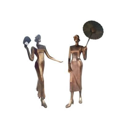 铸铜旧上海打伞女人雕像玻璃钢抽象民国美女铜塑像老上海女子摇扇造型雕塑商业步行街广场景观人物小品装饰摆