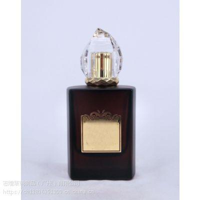 供应香水瓶玻璃方形50ml 高档磨砂黑色玻璃香水瓶