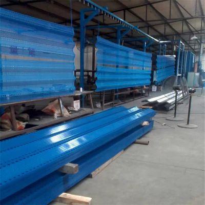 搅拌站防风抑尘网 冷轧板圆孔冲孔网 蓝色喷塑防风墙
