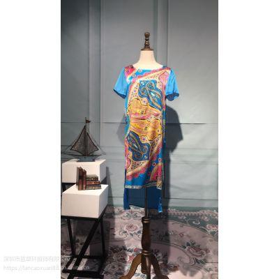 香港品牌女装 迪娜丝2016夏装走分批法 大码真丝连衣裙