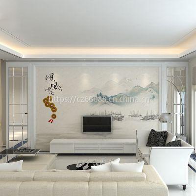 朱居家瓷砖大理石背景墙中式简约客厅3d电视高温微晶石顺风顺水