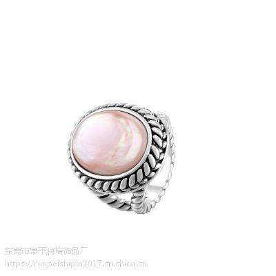 润培 铜椭圆抹黑复古粘石戒指 饰品生产商供应 工厂直供