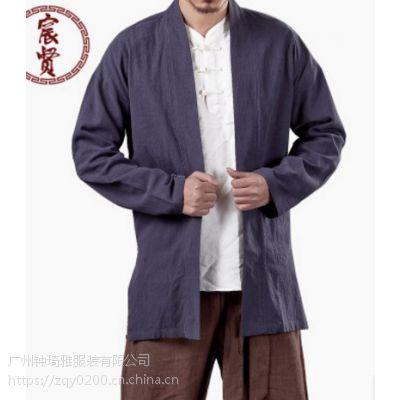 民族风男式立体盘扣舒适棉麻复古长袖男茶服唐装上衣