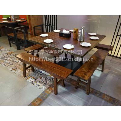 倍斯特主题湘菜馆现代中式实木餐桌创意中餐茶餐厅简餐带抽屉餐桌厂家定制