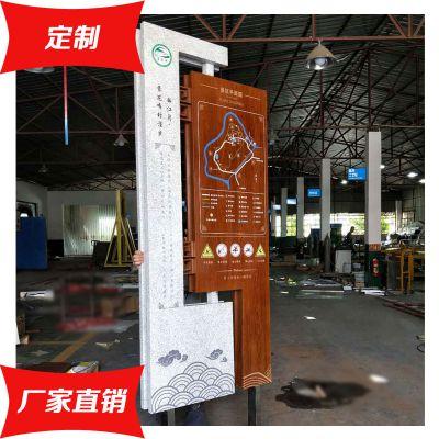 订制仿石仿木纹索引指示牌 景区平面索引图 不锈钢区域标识牌厂家