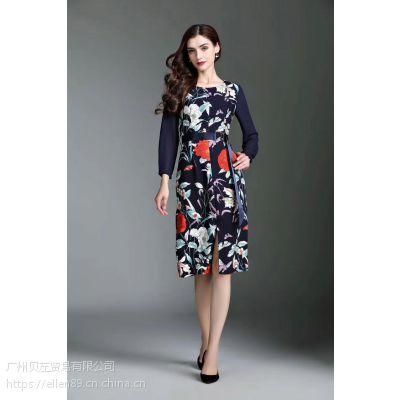 欧美风大码品牌女装折扣批发时尚长款连衣裙品牌女装库存尾货批发