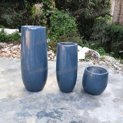 时尚简约玻璃钢花盆雕塑商场机场美陈子弹头造型花盆树脂纤维圆柱形花钵