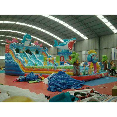 安徽铜陵儿童充气城堡高滑梯加厚环保pvc蹦蹦床气垫乐园