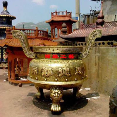 厂家直销铸铁圆形平口香炉 大殿宫观香炉照片