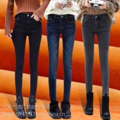 广州2018新款秋冬加绒牛仔裤高腰弹力小脚裤批发低价女士打底铅笔裤批发